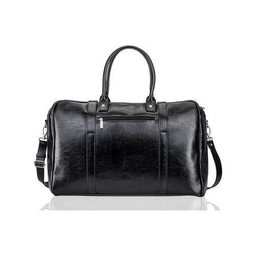 Solier Skórzana torba męska podróżna, weekendowa czarna (5902650682184)