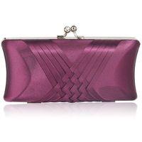 Gładka satynowa torebka wizytowa szkatułka fiolet-oberżyna - fioletowy || oberżyna