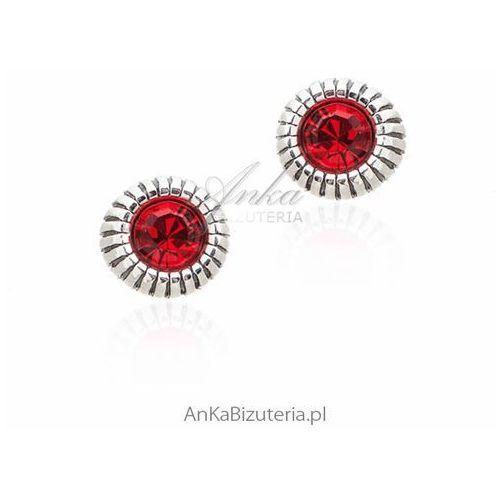 Kolczyki srebrne z czerwoną cyrkonią Anka biżuteria