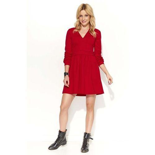 b6599c09d8 Czerwona Sukienka Rozkloszowana z Dekoltem V