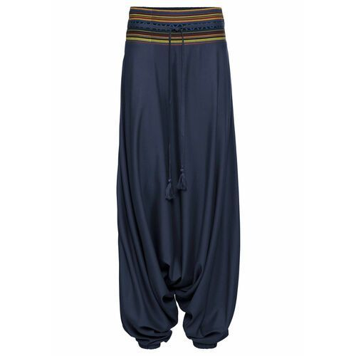 Spodnie alladynki bonprix ciemnoniebieski wzorzysty, w 4 rozmiarach