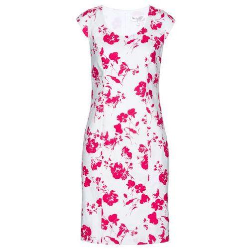 Bonprix Lniana sukienka ołówkowa biało-różowy hibiskus z nadrukiem