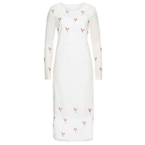 Sukienka z siatkowego materiału z haftem biel wełny, Bonprix, 32-50