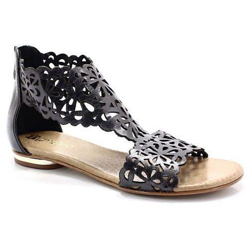 2699 platyna - płaskie sandały ażurowe - szary, Tymoteo