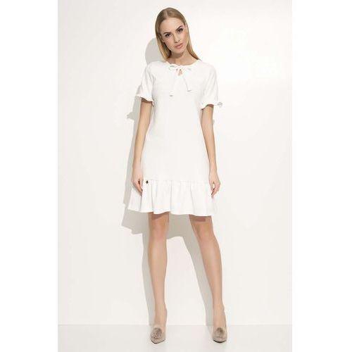 e9a798b38b0370 Ecru sukienka z wiązaną kokardką pod szyją (Makadamia) - sklep ...