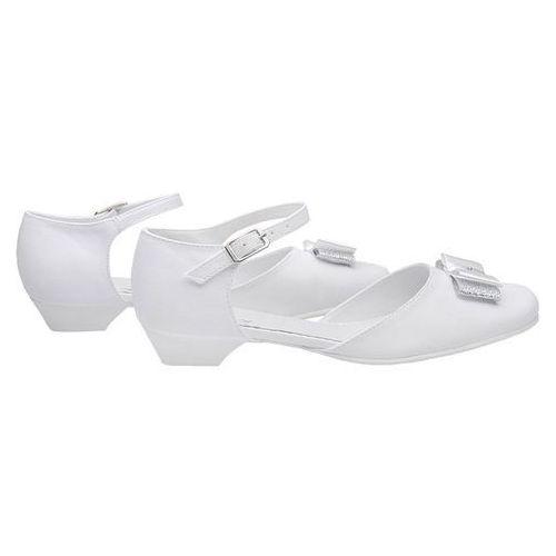 a016cd8120 Pantofelki buty komunijne dla dziewczynki KMK 224 H Białe - Biały -  fotografia