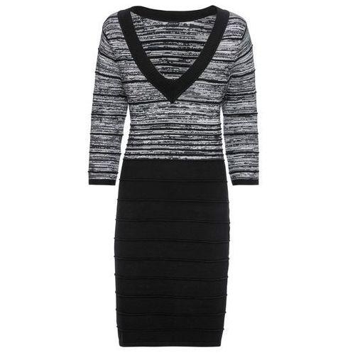 af0d229655 Zobacz ofertę Sukienka dzianinowa w paski bonprix szary melanż - czarny w  paski
