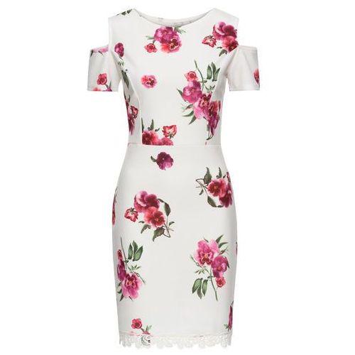 Sukienka w kwiaty z koronką kremowy w kwiaty Bonprix