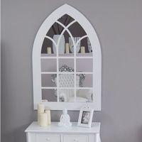 Design by impresje24 Lustro, styl gotycki, ostry łuk, biała, drewniana rama, szprosy.
