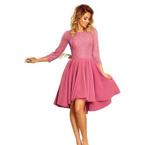 5e0ec9dc0a Numoco Różowa Wieczorowa Rozkloszowana Sukienka z Koronką