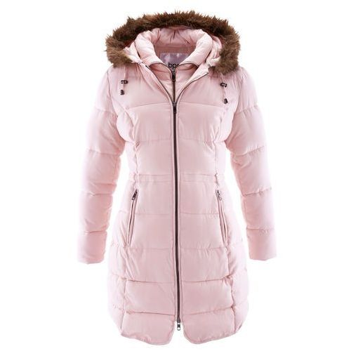 Krótki płaszcz z kapturem bonprix pastelowy jasnoróżowy, kolor różowy