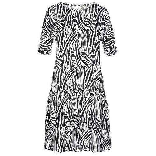 Bonprix Sukienka z nadrukiem czarno-biały wzorzysty