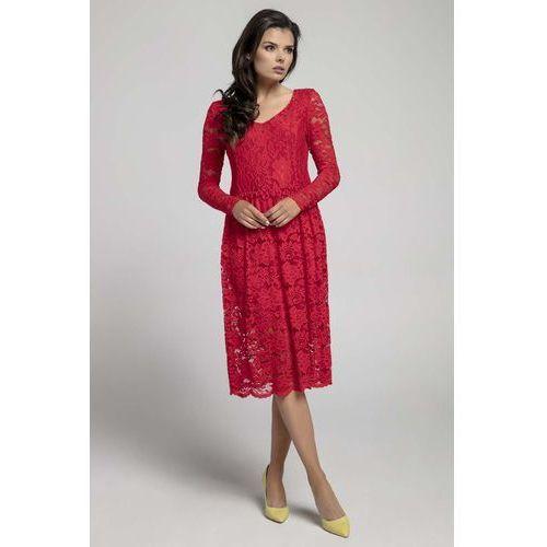 f554960a54 Czerwona Wizytowa Rozkloszowana Sukienka z Koronki (Nommo) - sklep ...