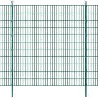 vidaXL Panele ogrodzeniowe 2D z słupkami - 2008x2230 mm 12 m Zielone (8718475985365)