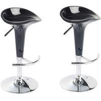 Vidaxl dwa krzesła barowe z uformowanym siedziskiem, ergonomiczne, czarne.