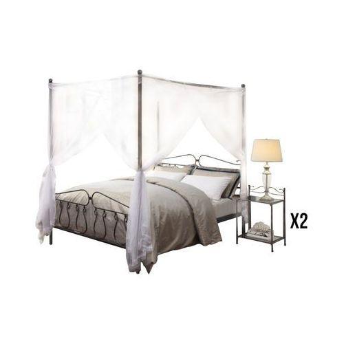 Zestaw Do Sypialni Marquise łóżko Z Baldachimem 140 190 Cm I 2 Stoliki Nocne Metal O Wyglądzie Kutego żelaza Vente Unique