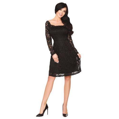 8191f08b9e Zobacz ofertę Czarna Rozkloszowana Sukienka z Koronki z Pięknym Dekoltem