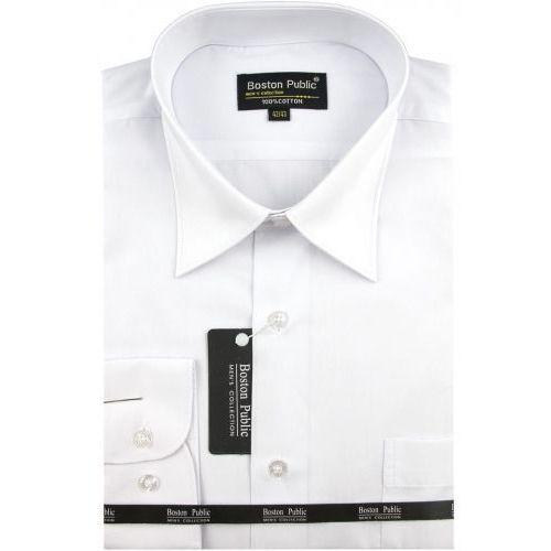Boston public Koszula męska gładka biała na długi rękaw d698