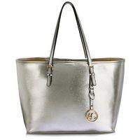 Srebrna torebka shopperka na ramię - srebrny