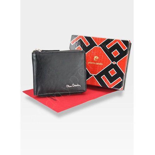 3cd012de0f721 Oryginalny portfel męski skórzany zapinany suwak tilak12 8818 rfid - czarny  marki Pierre cardin