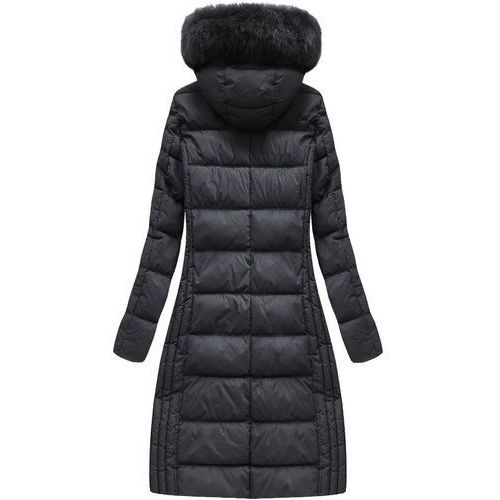 Długa kurtka zimowa z kapturem czarna (7753) czarny, , 36 44 (Libland)