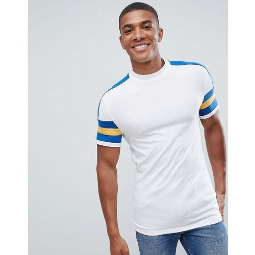 f690ae8c5b84a9 ASOS DESIGN muscle fit t-shirt with contrast sleeve and cuff panel in white  -