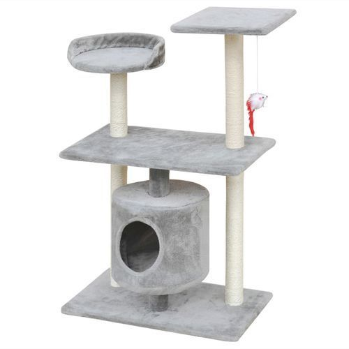 vidaXL Drapak dla kota z domkiem, 94.5 cm, szary. (8718475940616)