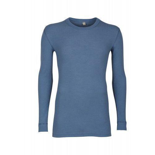 Koszulka męska z wełny merynosów (100%) - długie rękawy; dopasowana, delikatny prążkowany splot - ciemnoniebieska - DILLING, kolor niebieski