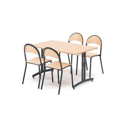 Aj produkty Zestaw do stołówki sanna+tampa, stół i 4 krzesła, buk/czarny