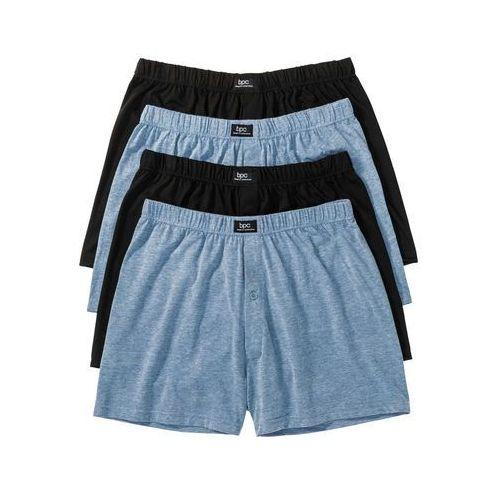 Luźniejsze bokserki z dżerseju (4 pary) bonprix niebieski dżins melanż + czarny, w 6 rozmiarach
