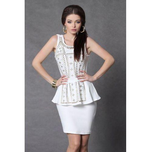 4009-3 Sukienka baskinka ze złotymi dżetami - biały, z