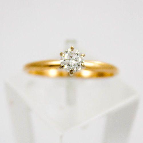 Złoty pierścionek z diamentem P1551, kolor żółty