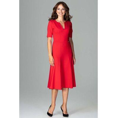 b79bd95d10 Czerwona Koktajlowa Sukienka Midi z Wycięciem V przy Dekolcie