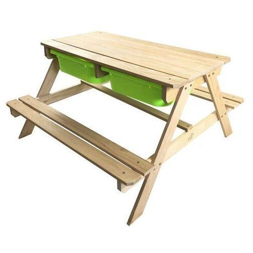 Backyard discovery Sunny drewniany stolik piknikowy z pojemnikami na piasek i wodę wykonany z drewna sosnowego fsc