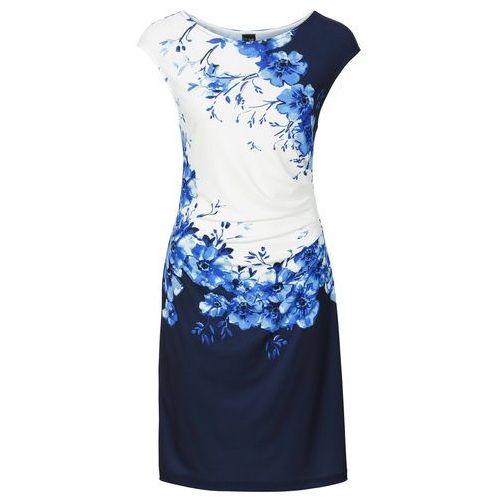 Sukienka z marszczeniami czarno-ciemnoniebieski z nadrukiem, Bonprix, 32-54