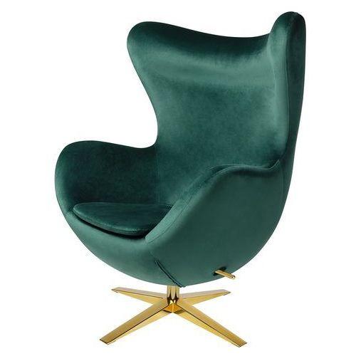 Fotel tapicerowany EGG SZEROKI VELVET GOLD ciemny zielony.18 - welur, podstawa złota (5900168802728)