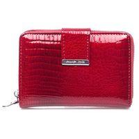 Średni lakierowany portfel damski czerwony Jennifer Jones