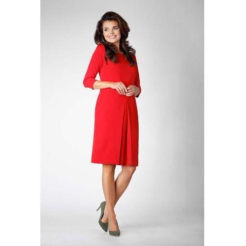 4f1c11a641 Nommo Czerwona elegancka prosta sukienka koktajlowa z kontrafałdą ...