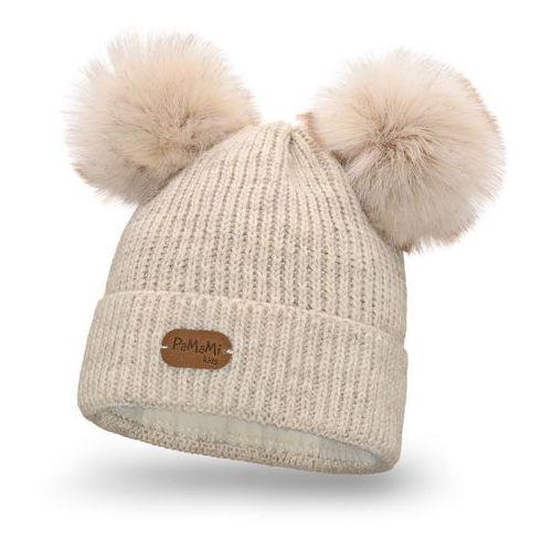 Zimowa czapka dziewczęca PaMaMi - Beżowy - Beżowy (5902934095259)