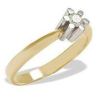 Pierścionek zaręczynowy z żółtego i białego złota z brylantem 0,10 ct wzór AP-1110ZB