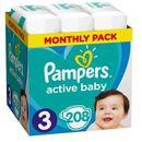 PAMPERS Active Baby pieluchy 3 Midi 208szt pieluszki Zapas na miesiąc
