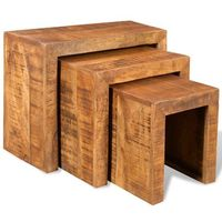 Vidaxl zestaw 3 stolików w stylu antycznym z drewna mango