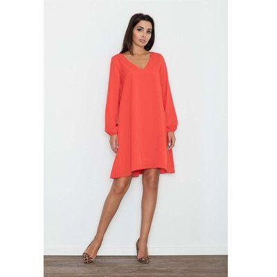 2441f16df4 Czerwona Sukienka Trapezowa z Długim Rękawem