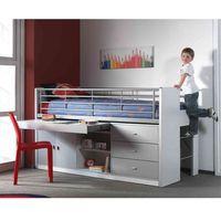 Łóżko piętrowe dla dzieci Bonny Grey z szufladami