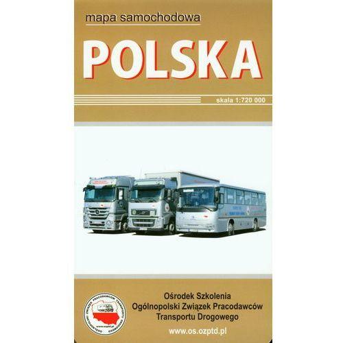 Polska mapa samochodowa w twardej okładce, praca zbiorowa