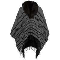 Poncho ze sztucznym futerkiem bonprix szaro-czarny