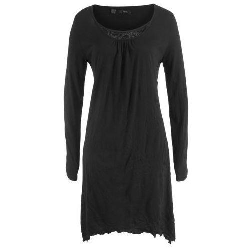 Sukienka kreszowana, długi rękaw bonprix czarny, kolor czarny