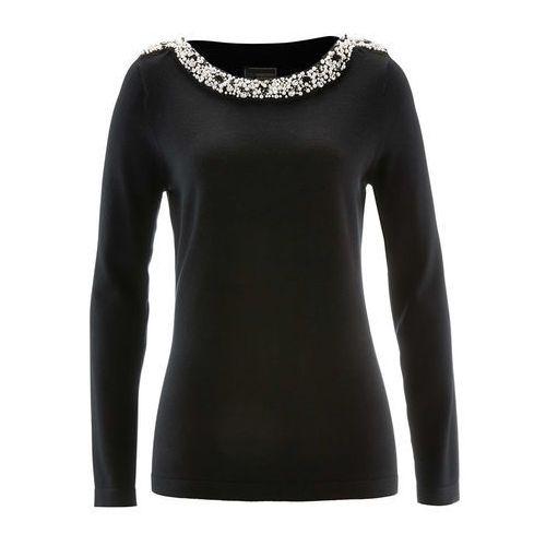 Sweter z aplikacją z perełek czarny marki Bonprix