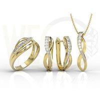 Zestaw - pierścionek, kolczyki i wisiorek z żółtego złota z diamentami lp-6708z-r-zest