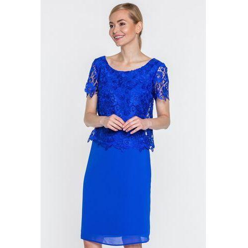 27170b6556 Szafirowa sukienka z koronkową górą (Sisel) - sklep SkladBlawatny.pl